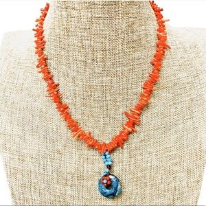 Branch Coral And Turquoise Necklace 9.5 Length